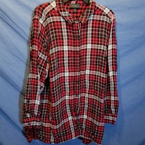 Lane bryant plaid red and black button down shirt